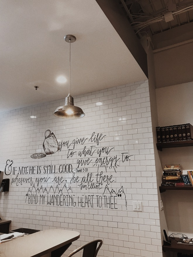 Trendy Modern Coffee Shop Interior Bible Verse