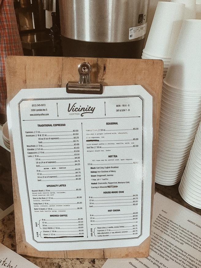 Coffee Shop Menu at Vicinity Coffee
