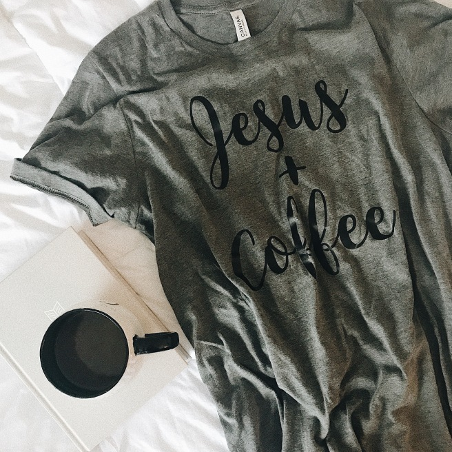graphic tee coffee and jesus